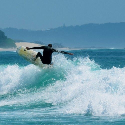 Surfing at Big Hill, near Delicate nobby, crescent head nsw