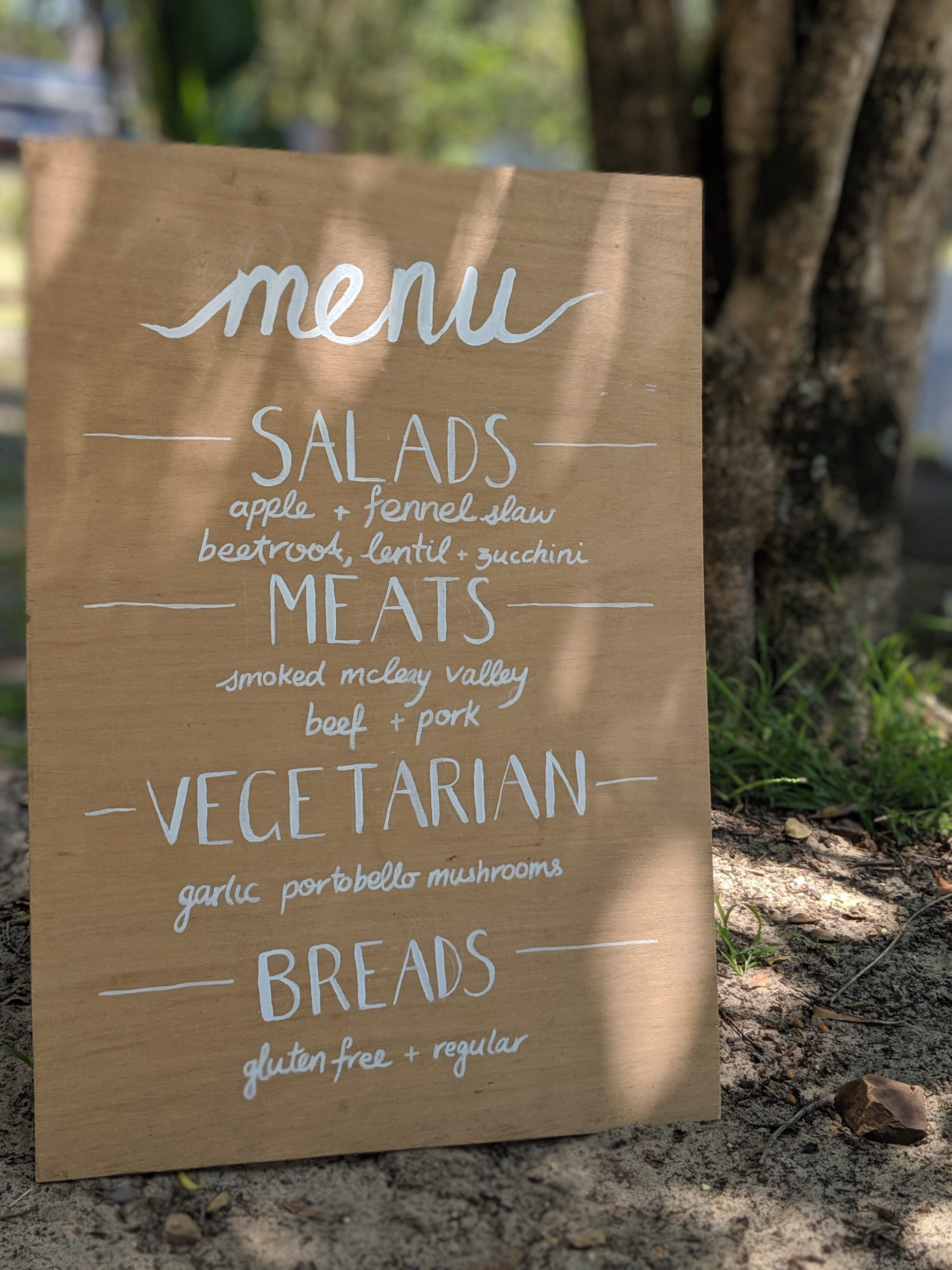 Wedding menu Surf Fuel Café